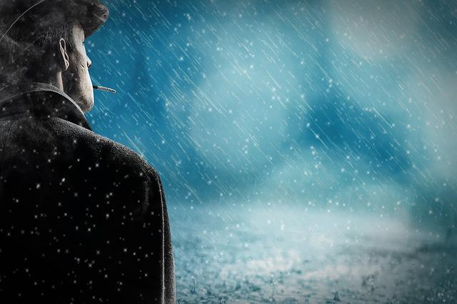 Man, Rain, Snow Rain, Alone, Cigarette, Hat, Silhouette