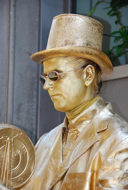 Statue, Living Statue, Gold, Brass, Yellow, Hat, Man