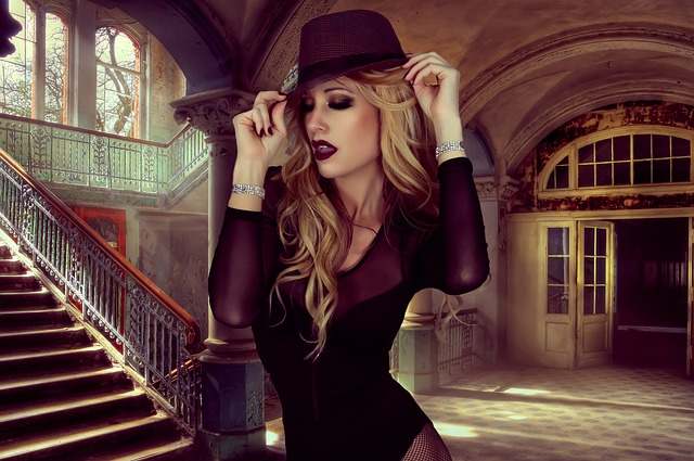 Glamour, Style, Hat, Woman, Portrait