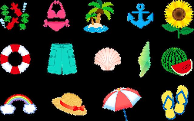Summer Swimsuit, Hat, Island, Rainbow, Seashell