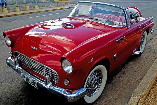 Cuba, Havana, Car, Red, Almendron, Thunderbird, Melecon