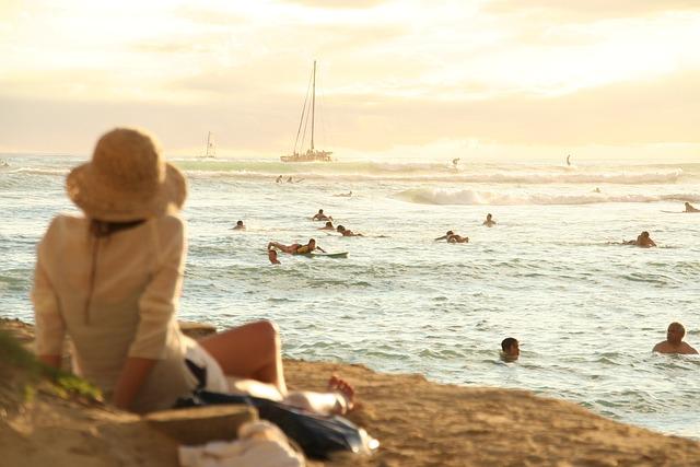 Sea, Beach, Sunset, Hawaii, Waikiki