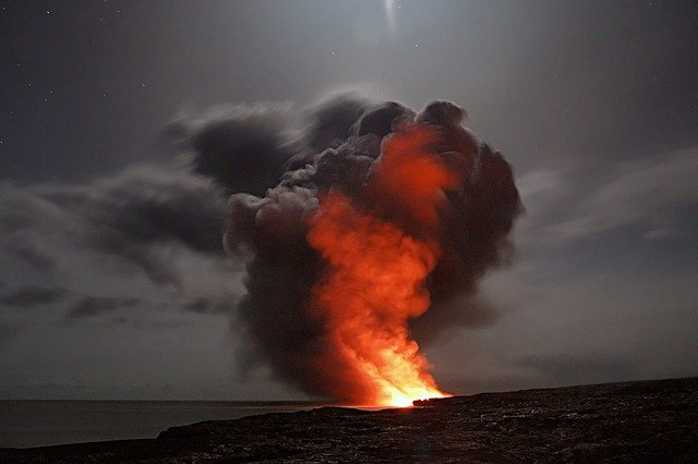Volcano, Hawaii, Lava, Cloud, Ash, Water, Ocean