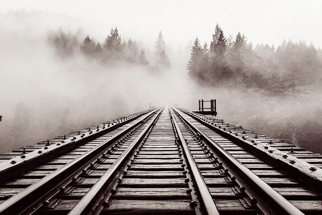 Railroad, Bridge, Old, Trestle, Haze, Forest, Moody