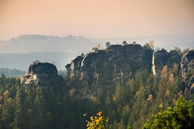 Elbe Sandstone, Morning, Haze, Rock Needles, Landscape