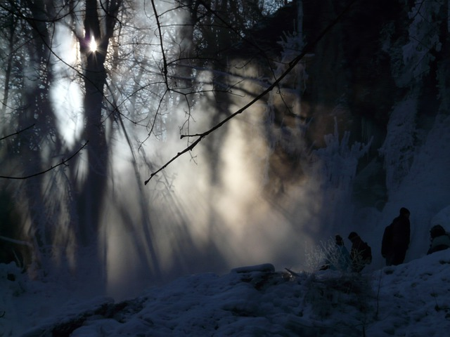Urach Waterfall, Back Light, Fog, Haze, Winter, Wintry