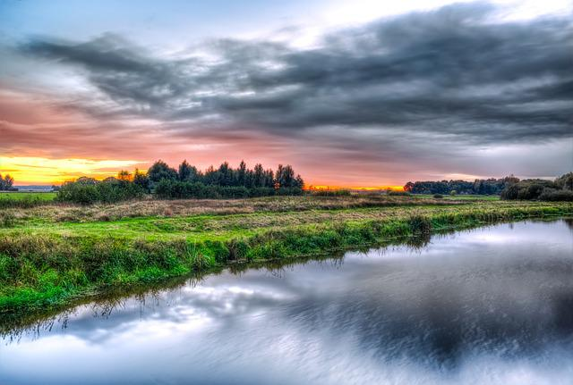 River, Sunset, Hdr, Hunze, Drenthe, Netherlands