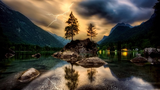 Sunset, Dusk, Sky, Clouds, Lightning, Storm, Hdr, Lake