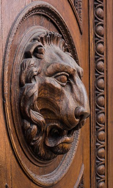 Lion, Head, Wood, Door, Goal, Figure, Lion Head