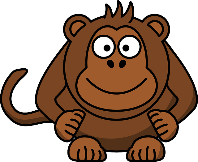 Monkey, Head, Laughing, Sitting, Primate, Cartoon