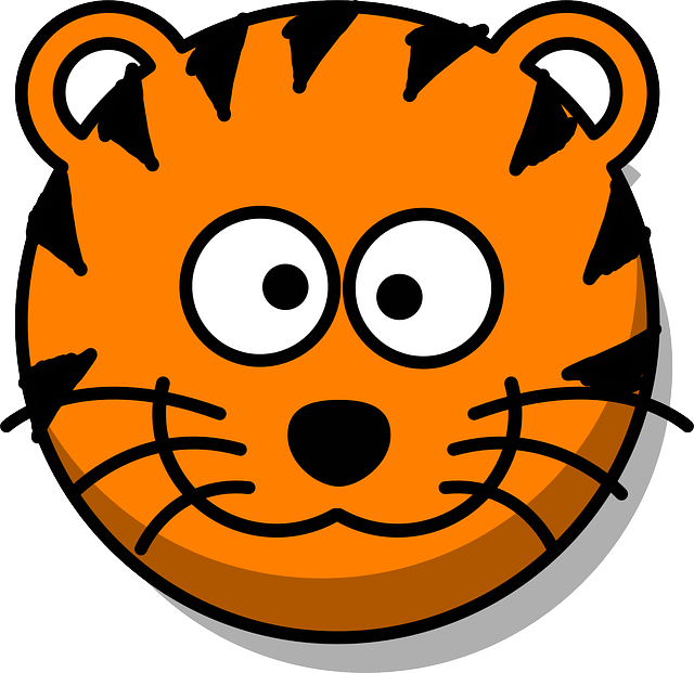 Tiger, Head, Grin, Cartoon, Orange, Round, Whiskers
