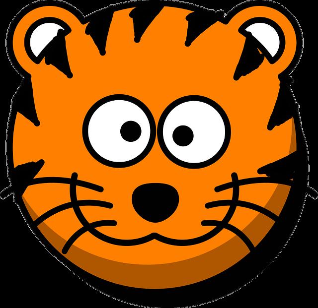 Tiger, Head, Grin, Cartoon, Orange, Round, Whiskers