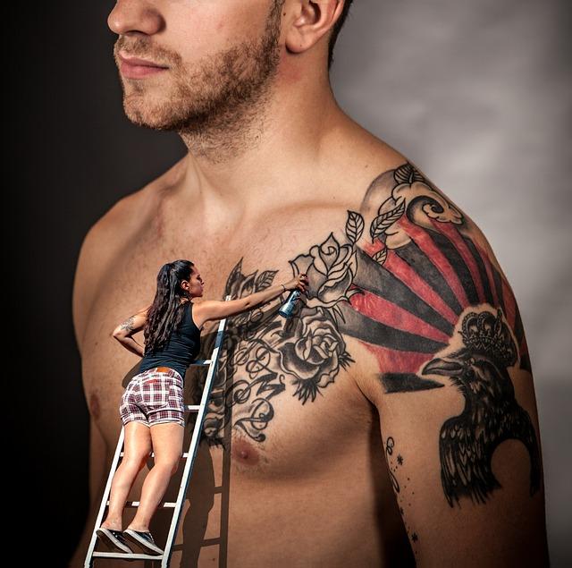 Man, Tattoo, Upper Body, Girl, Head Spaydose, Color