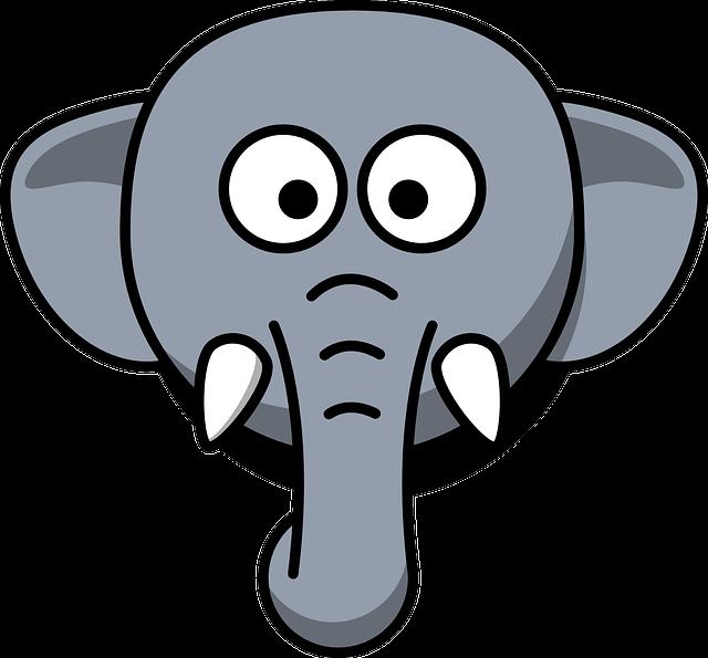 Elephant, Head, Stupid, Cartoon, Gray, Zoo, Wildlife