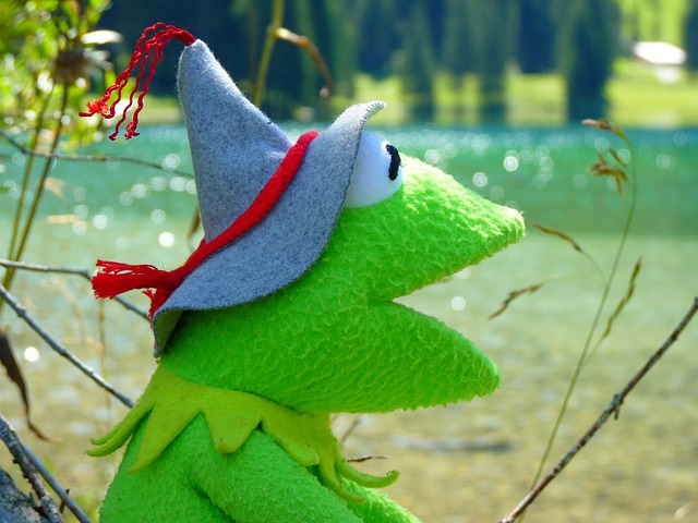 Kermit, Frog, Doll, Fig, Green, Tyrolean Hat, Headwear