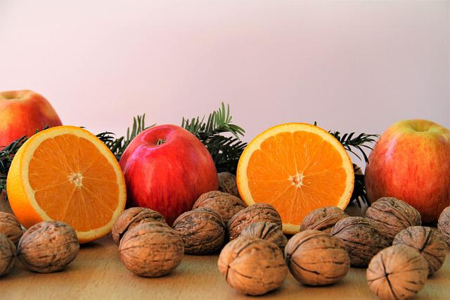 Nuts, Apple, Red, Delicious, Healthy, Advent, Eat