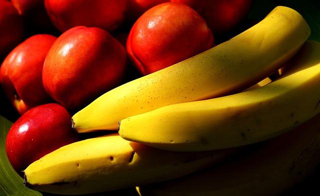 Fruit, Bananas, Nectarines, Healthy, Delicious
