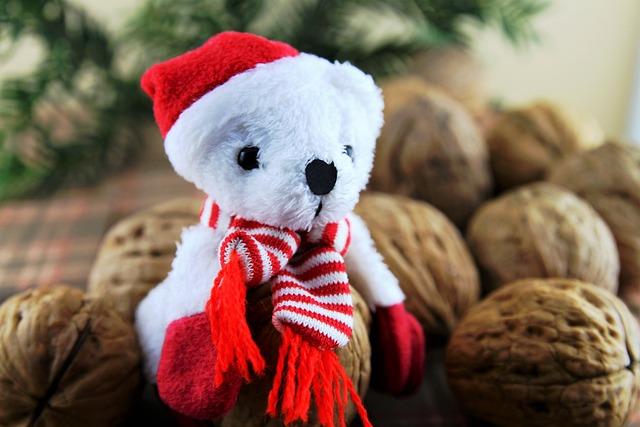 Nuts, Walnut, Eat, Teddy Bear, Christmas, Healthy