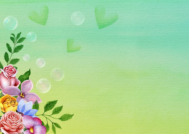 Flowers, Soap Bubbles, Heart, Background Image, Leaves