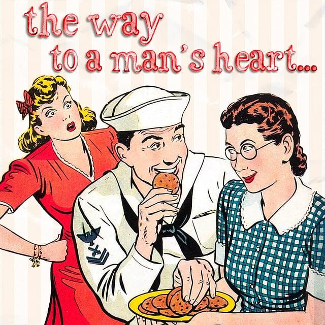Retro, Man, Women, Young, Dating, Eat, Cookies, Heart