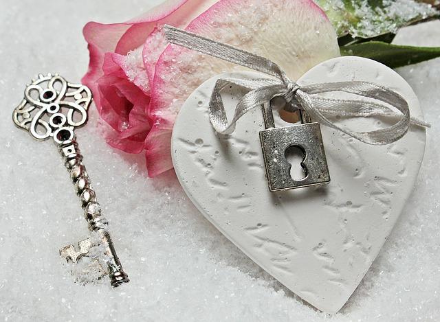 Heart, Key, Rose, Herzchen, Love, Romance, Symbol