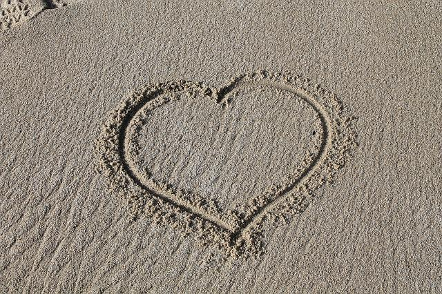 Heart, Sand, Footprint