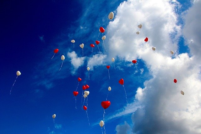Balloon, Heart, Love, Romance, Sky, Heart Shaped, Red