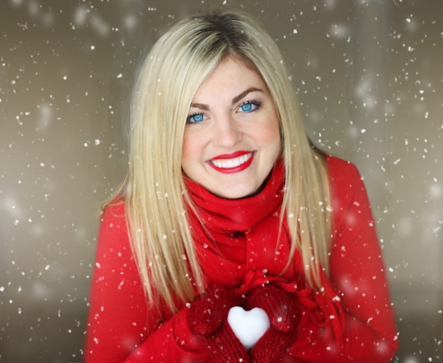 Pretty Girl, Valentines Day, Winter, Red, Heart, Snow
