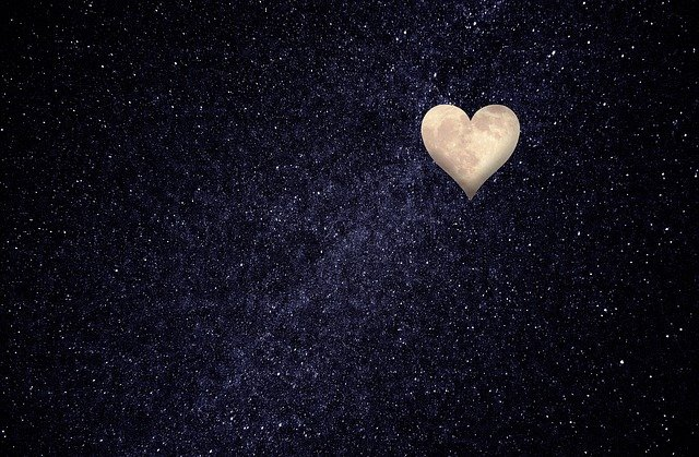 Heart, Moon, Night Sky, Love, Thoughts, Happy, Luck