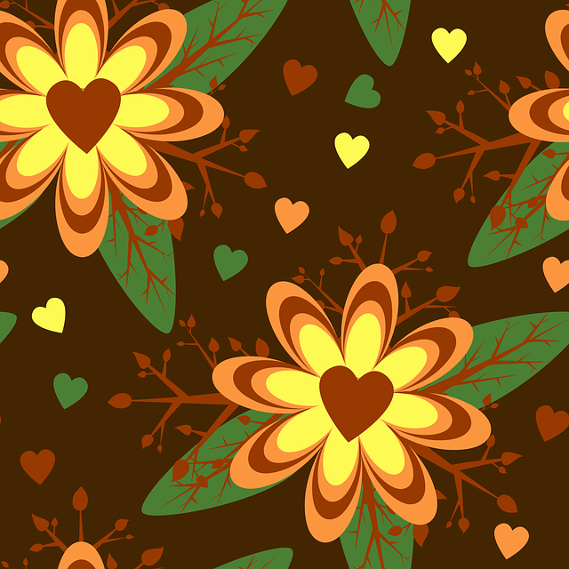 Floral, Hearts, Brown, Green, Retro, Flower, Pattern