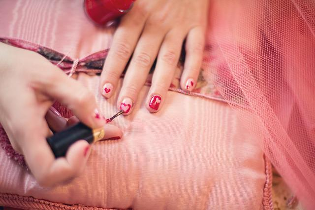 Painting Fingernails, Nail Polish, Hearts, Valentine