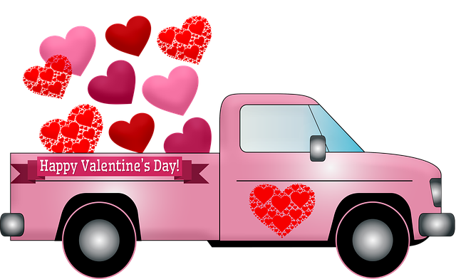 Valentine Truck, Hearts, Valentine Pink Truck