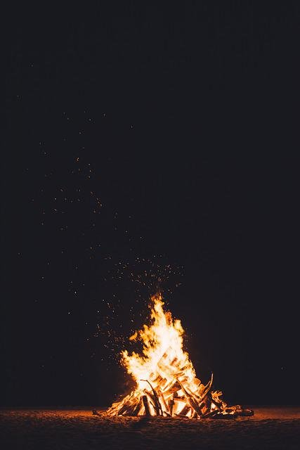 Bonfire, Burning, Dark, Fire, Flame, Heat
