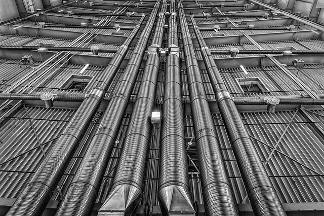 Pipes, Lines, Ventilation, Heating, Metal, Energy