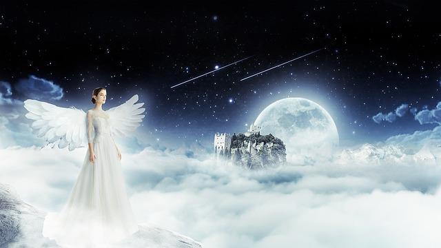 Angel, Sky, Night, Heaven, Woman, Fantasy, Wings, Fairy