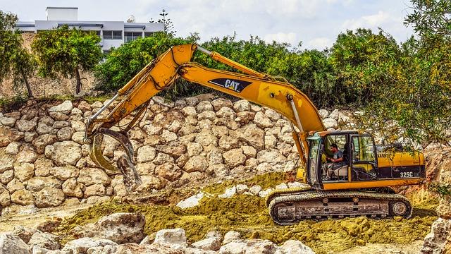 Heavy Machine, Excavator, Yellow, Machinery