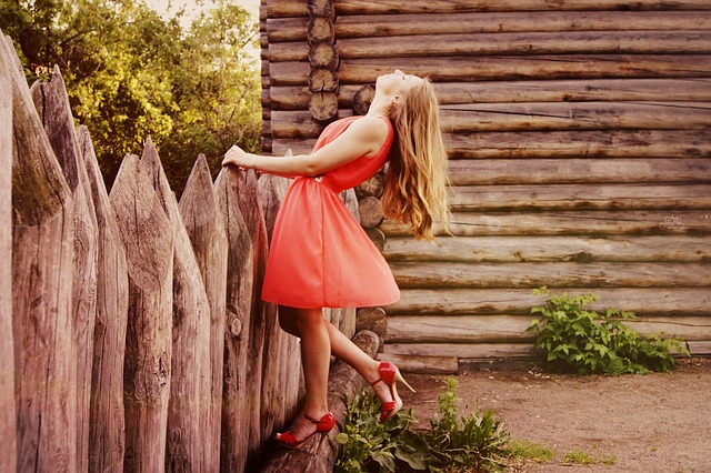 Girl, Dress, Fence, Wooden Fence, Fashion, Style, Heels