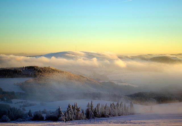 Rhön, Winter, Heidelstein, Snow, Fog, Sky, Nature, Rest
