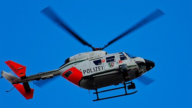 Helicopter, Flying, Sky, Police