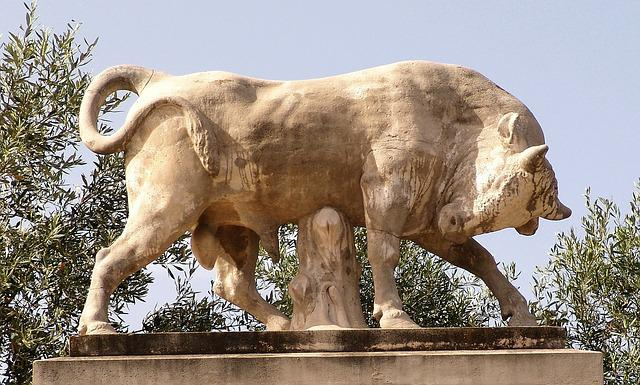 Bull, Force, Sculpture, Stone, Hellas
