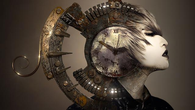 Fantasy, Portrait, Surreal, Woman, Helm, Clock