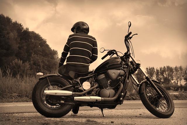 Guy, Motorbike, Biker, Parked, Sitting, Break, Helmet
