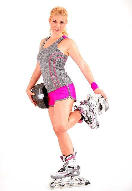 Girl, Roller Skates, Inline, Helmet, Sport, Blonde