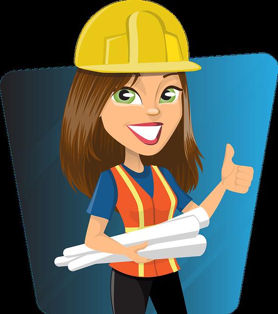 Woman, Engineer, Work, Worker, Lady, Plans, Helmet