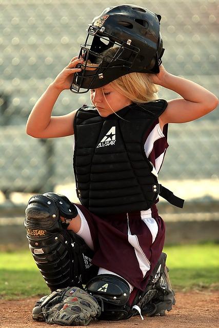 Softball, Player, Catcher, Female, Helmet, Game