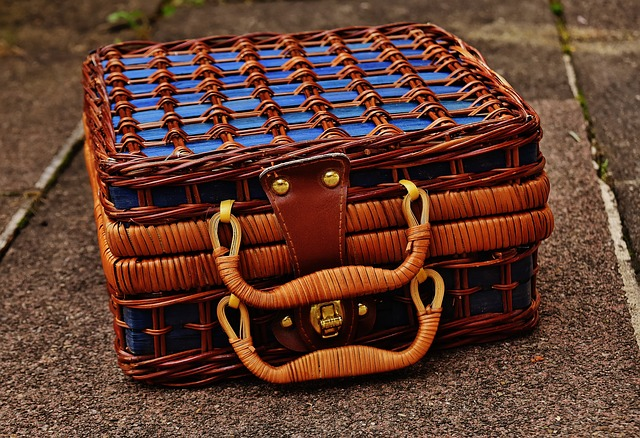 Basket, Luggage, Small, Braid, Blue, Closed, Henkel