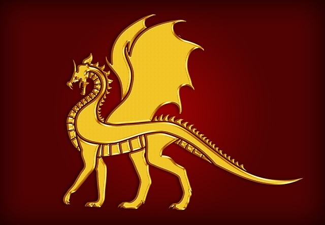 Dragon, Gold, Coat Of Arms, Heraldry, Silhouette