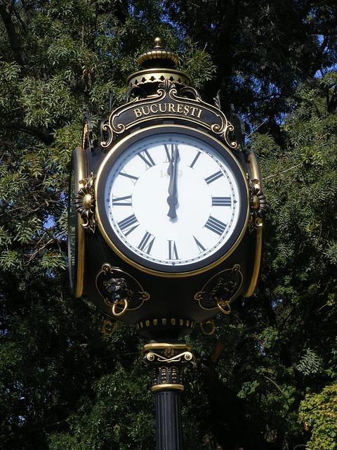 Art, Bucharest, Clock, Four, Gold, Herastrau, Leaf