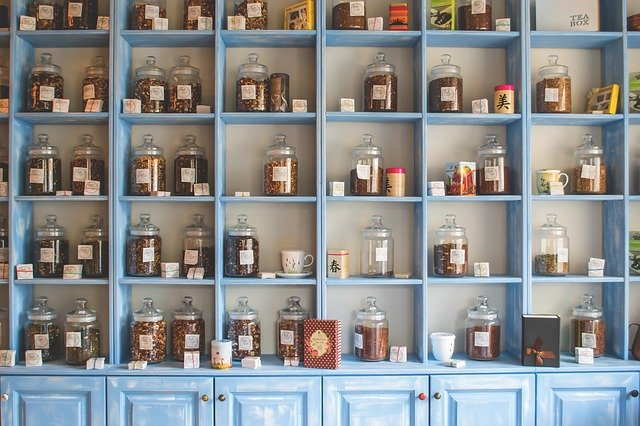 Shelf, Store, Shop, Chinese, Jars, Herbs, Herbal