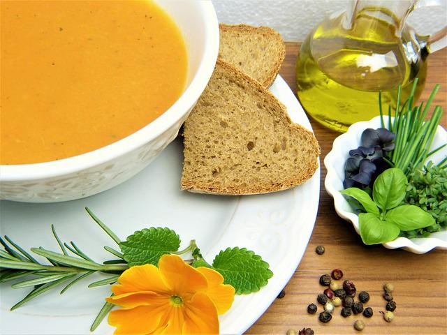 Carrot Soup, Bread, Herbs, Oil, Soup, Vegetables, Lunch